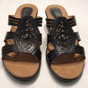 EARTH ORIGINS GINA Sz 8 Leather Black Sandals